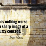 """There is nothing worse than a sharp image of a fuzzy concept."" - Ansel Adams"