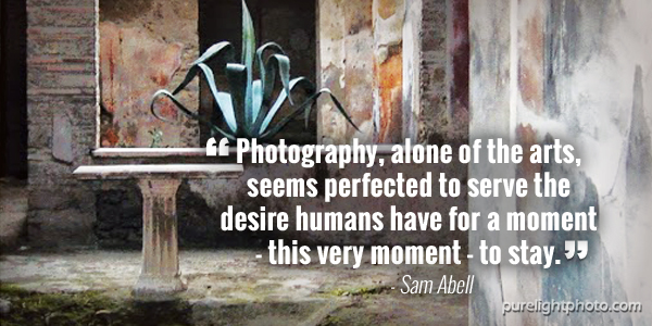 """Photography, alone of the arts, seems perfected to serve the desire humans have for a moment - this very moment - to stay."" - Sam Abell"