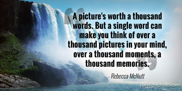 """A picture's worth a thousand words. But a single word can make you think of over a thousand pictures in your mind, over a thousand moments, a thousand memories."" - Rebecca McNutt"