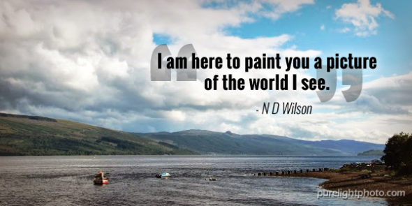 """I am here to paint you a picture of the world I see."" - N D Wilson"